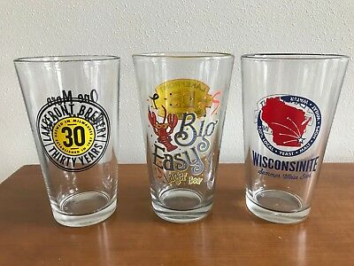 Lakefront Brewery Milwaukee Wisconsin Lot Of 3 Beer Pint Glasses 30th, Big Easy+