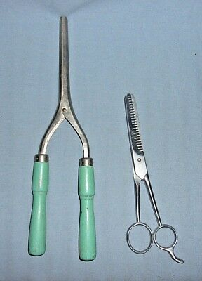 2 Vintage Hairdresser Barber Tools Scissors/Comb Curler w/Wood Handles