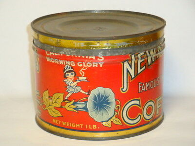 Nice Old Tin Litho Newmark's Brand 1Lb. Keywind Advertising Coffee Tin Can