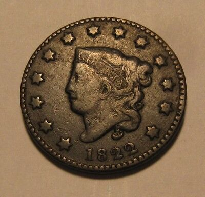 1822 Coronet Head Large Cent Penny - Very to Extra Fine Condition - 69SU