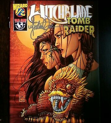 A RARE Autograph signed Michael Turner Witchblade Tomb Raider Wizard Comic Book