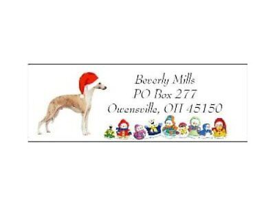 Holiday address labels Whippet Christmas dog WATERPROOF snowpeople design