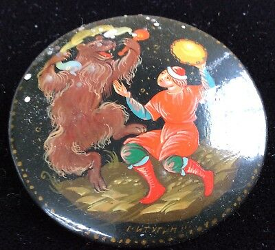 Russian lacquer pin (folk tale )signed by the artist vintage