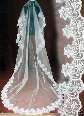 6 corner flower Edge 1.5m Length Veil 1T Bride Wedding Accessory No Comb B36UTD