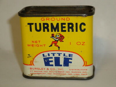 Nice Old Tin Litho Little Elf Brand Turmeric Advertising Grocery Spice Tin Can