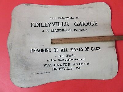 Antique Advertising Paper Fan Finleyville, PA Garage Car Repair Pennsylvania