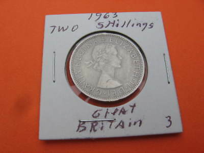 1963 TWO SHILLINGS COIN from GREAT BRITAIN