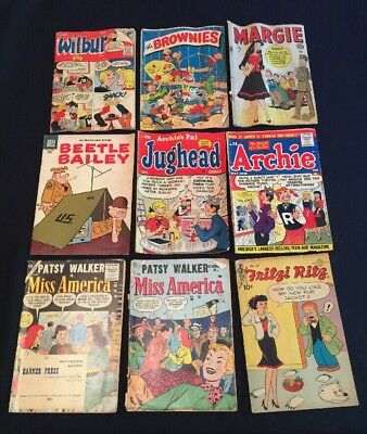 9 Vintage COMIC BOOKS 1949-1957 10 Cent JUGHEAD ARCHIE MARGIE BROWNIES BAILEY