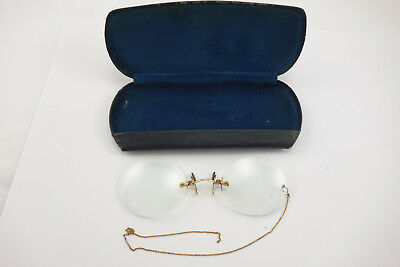 Pair of Antique Pince Nez Spectacles Eye Glasses 10K Solid Gold Scrap or Not