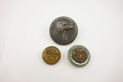 Unusual Antique Lot of 3 Buttons Tin Dog Brass Pig Girl