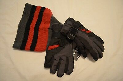 Nwt Digits Thinsulate Boys Hat And Gloves Grey Black Red 4-7