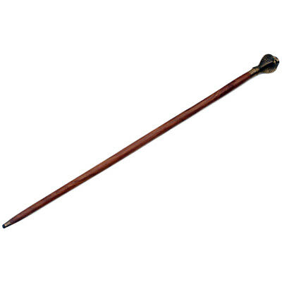 Antique/Vintage Style Solid Brass Cobra Snake Head Walking Stick Wood Shaft Cane