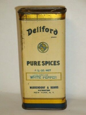 Nice Old Tin Litho Dellford Brand White Pepper Advertising Grocery Spice Tin Can