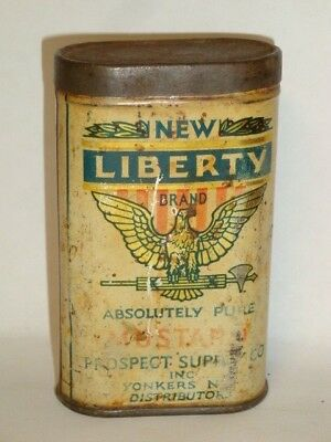 Nice Old Tin Litho New Liberty Brand Mustard Advertising Grocery Spice Tin Can