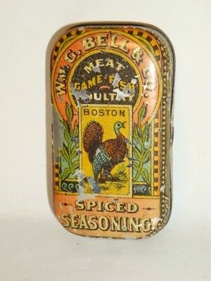 Nice Old Tin Litho Bell's Brand Poultry Spice Advertising Grocery Spice Tin Can