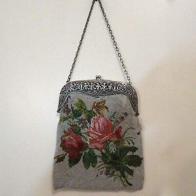 Vintage Antique Micro Beaded Purse 800 Silver Frame Cherubs Circa 18th Century