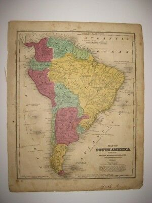 Fine Antique 1844 South America Handcolored Map Brazil Patagonia Argentina Fine