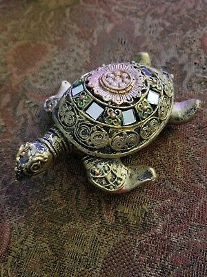 Elegant Gold Turtle Figurine With Mirror Accents & Gold Baby Turtles Europe
