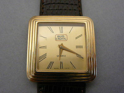 RARE Vintage GUCCI Men's Swiss Gold Plated Steel BUD LIGHT 5000M Quartz Watch