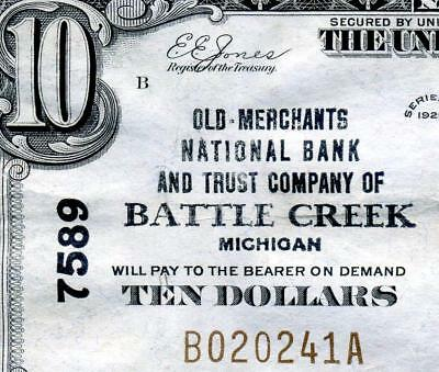 HGR SUNDAY 1929 $10 BATTLE CREEK Michigan ((WANTED Title)) LIGHTLY CIRCULATED