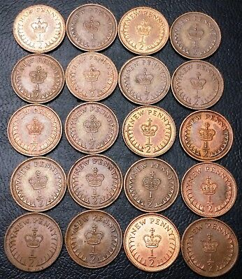 Lot of 20x Great Britain UK Half Penny & New Penny Coins - Various Dates