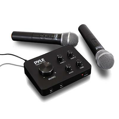 Pyle Portable Home Theater Karaoke Microphone Mixer System Set w/ Dual UHF...