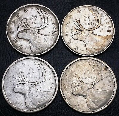 Lot of 4 Canada 25 Cent Quarters - 1947 1950 1956 1957 - 80% Silver Coins