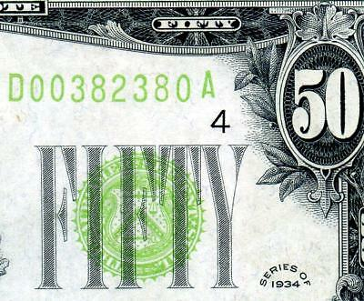 HGR SUNDAY 1934 $50 FRN ((Gorgeous LIME)) Appears CHOICE UNCIRCULATED