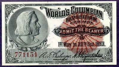 HGR SUNDAY 1893 Expo Ticket ((Columbus)) Appears CHOICE UNCIRCULATED
