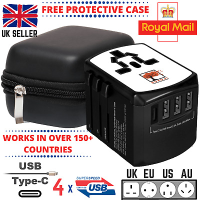 World Wide Universal Travel Adapter Multi Plug Charger USB Type-C CERTIFIED SAFE