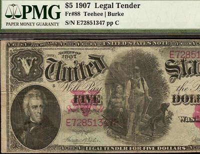 LARGE 1907 $5 DOLLAR BILL LEGAL TENDER WOODCHOPPER NOTE PAPER MONEY Fr 88 PMG