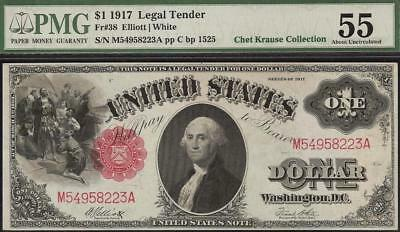 LARGE 1917 $1 DOLLAR UNITED STATES LEGAL TENDER NOTE PAPER MONEY Fr 38 PMG 55