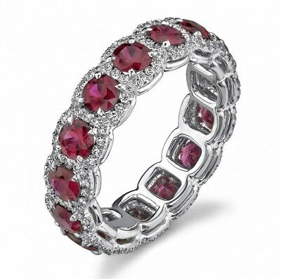 Women's Classical Vintage Antique Style Red Ruby Surround Wedding Ring R161