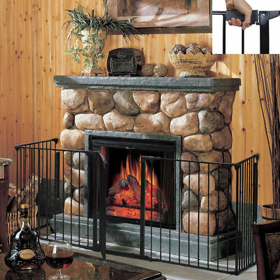 Fireplace Fence Baby Safety Fence Hearth Gate Pet Dog Cat Steel Fire Gate Q