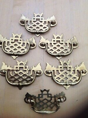 Brass Furniture Handles 6 x Vintage Brass Drop Drawer Pull Handles
