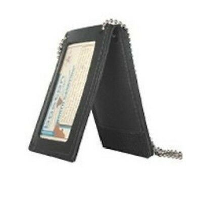 Boston Leather 5845NPB-1 Black Leather Badge Holder for Neck Pocket and Belt