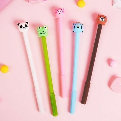 2pcs Kawaii Bande-Dessinée Animal 0.5mm Noir Stylo Gel Bureau École Papeterie