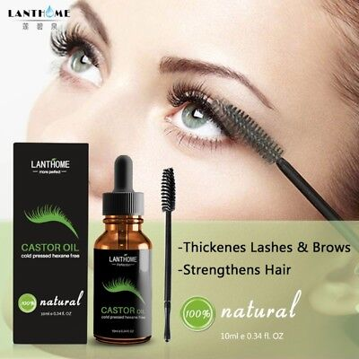 Castor Oil Eyelashes Eyebrow Enhancer Boost Growth Serum Essential Oil + Brush