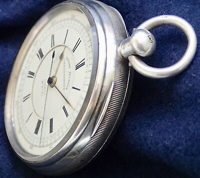 """E.Wise RARE PATENT 8727 """"Chronograph"""" Solid Silver Fusee Pocket Watch 1890"""
