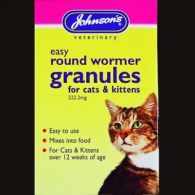 JOHNSONS EASY ROUND WORMER CAT & KITTEN WORMING GRANULES MIXES INTO FOOD 3X1gram