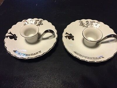 Vintage Pair Lefton China Japan 25Th Anniversary Porcelain Candle Stick Holders