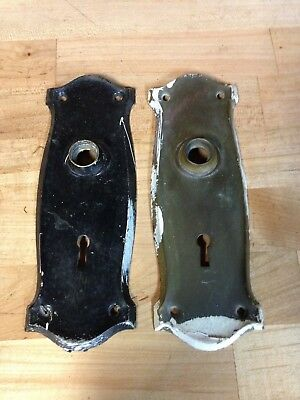 2 Antique Vintage Brass Arts Crafts Mission Door Knob Lock Plate Parts