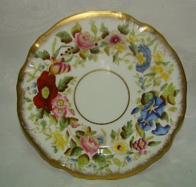 Vintage Hammersley Queen Anne Bone China Gold Gilt Chintz 13166 Plate Diam. 18cm