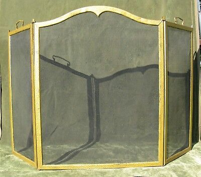 """Vintage Antique Arched Hammered Brass Steel 3 Fold Fire place Screen 52""""W"""