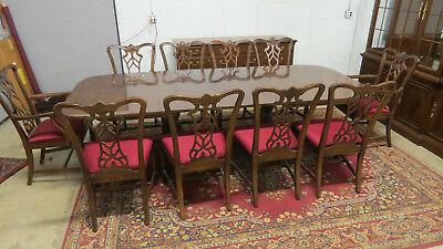 Drexel Dining Set 10 Chairs Mahogany Chippendale Amazing Set