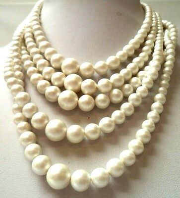 """Stunning Vintage Estate Faux Pearl Beaded 16"""" Necklace!!! 1476D"""
