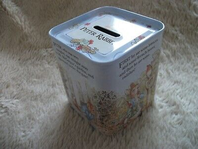 "Vintage ""peter Rabbit""  Tin  Moneybox  Frederick Warne & Co 1994 - Never Used"