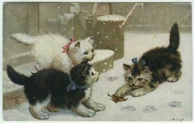 """Tuck """"Catland"""" Series c1910 Artist Signed Postcard Kittens Colored Bows Leaf"""
