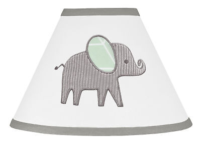 Mint Grey and White Lamp Shade for Watercolor Elephant Safari by Sweet Jojo
