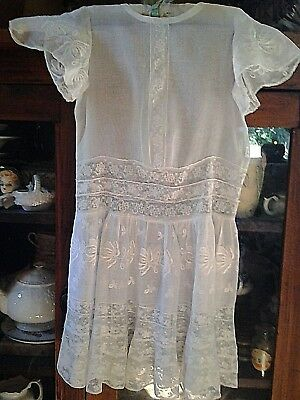 Lovely Antique fine Lace & Embroidery 1900's Girl Gown/Dress Lovely Heirloom